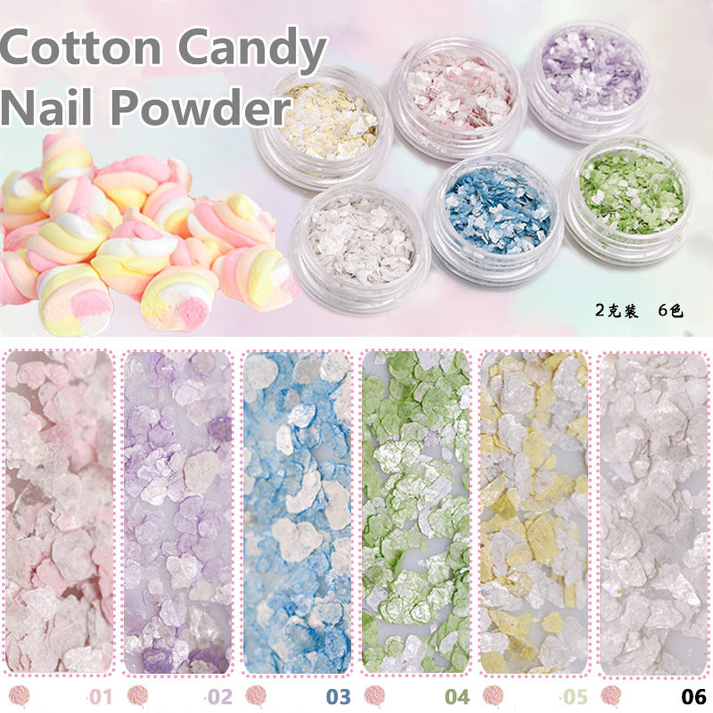 Cotton Candy Glitter Nails: 2g 6colors Marshmallow Cotton Candy Marble Stone Glitter