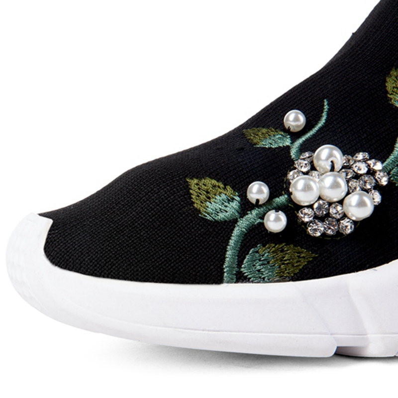 Girseaby NEW Embroidered flower sneakers knitting Winter Woman Shoes Ankle flat Boots Female Platform rhinestone slip on Black - 6