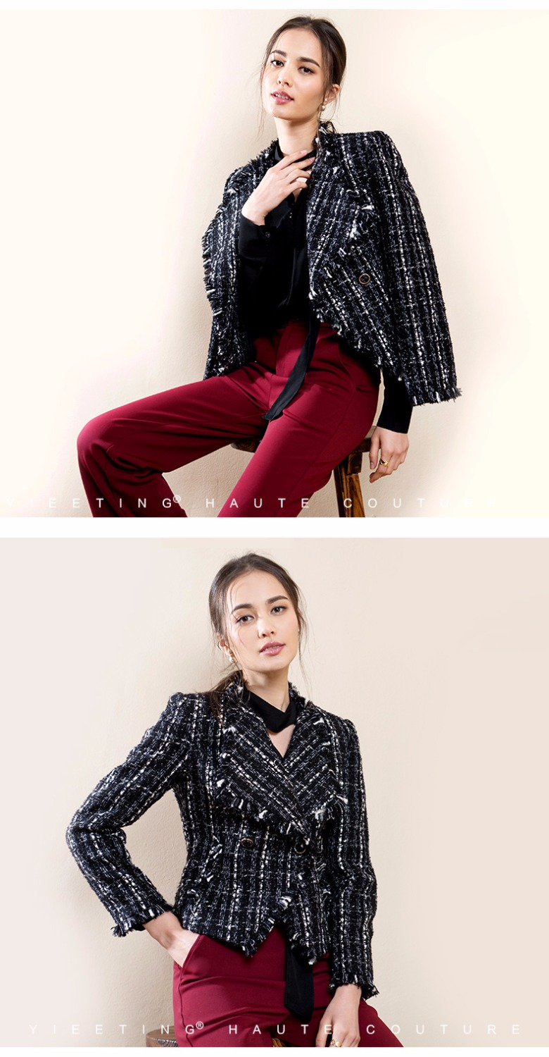 women Customized black-and-white woven tweed jacket with small fragrance, classic Lapel double-breasted short style coats