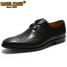 MENS LUXURY LEATHER SHOES LACE UP OFFICE BUSINESS WORK SHOES BLACK FORMAL BROGUE POINTED TOE OXFORDS WEDDING SHOES MEN FOR 2019 все цены