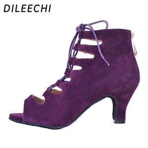 Image 5 - Dileechi新しい到着レッドブルーブラックベルベットかかとラテンダンスの靴女性のウェディングパーティーサルサダンスシューズ柔らかいアウトソール8.5センチ