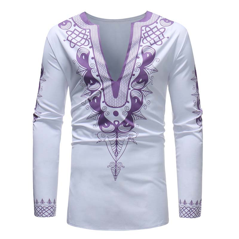 Africa Clothing Traditional Man Large V-Neck Long Sleeve Printed T-Shirt Dashiki Style M-XXXL