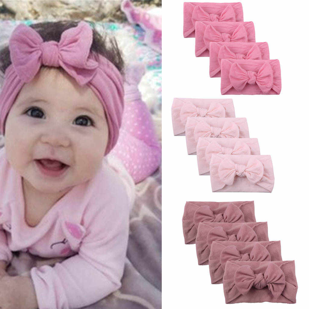 2019 caliente 1 PC moda bebé niñas diadema niños conejo oreja Bowknot turbante cinta elástica para el cabello