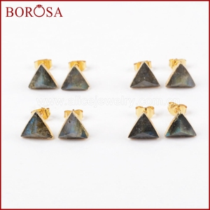 Image 5 - BOROSA 8mm Triangle Gold Color Natural Labradorite Faceted Drusy Stud Earrings, Druzy Stone Studs Earrings for Wholesale G1300