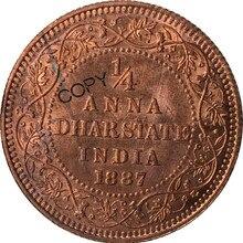 Британская Восточная Индия Виктория императрица 1887 1/4 Анна дхарстэйт красная медь копия монеты памятные монеты