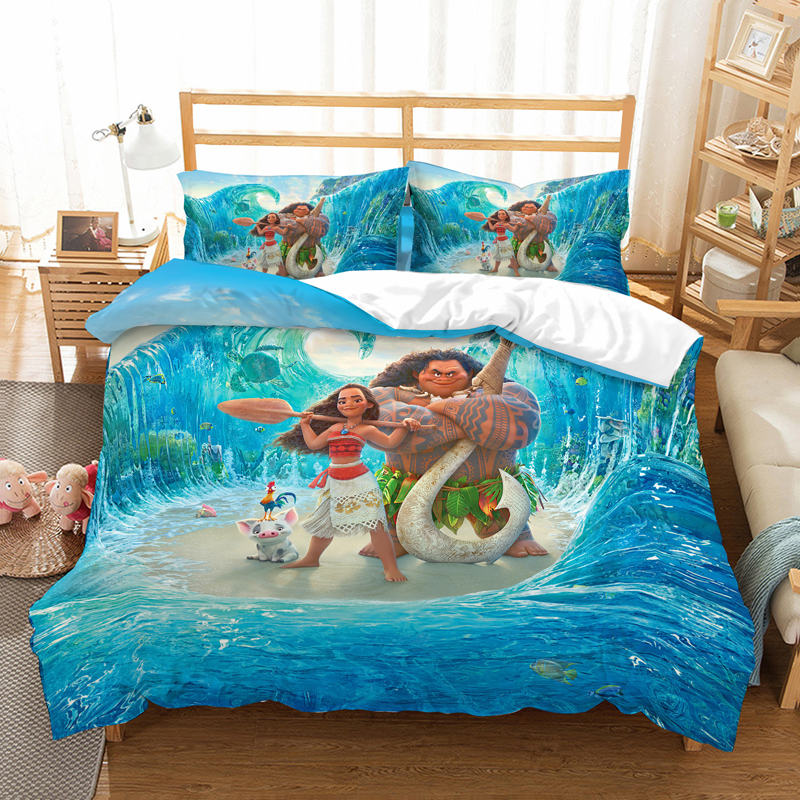 Marvel Captain Marvel 3D Bedding Set Children Room Decor Duvet Covers Pillowcases Maui Moana Comforter Bedding Set Bed Linen