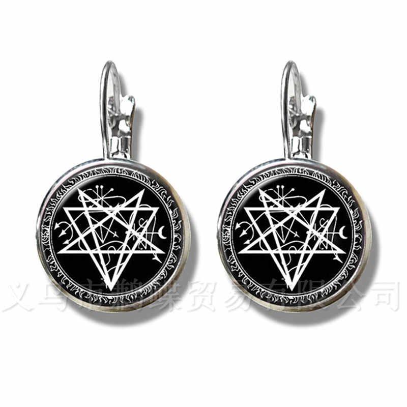 2018 nadprzyrodzone Pentagram szklane kopuły kolczyki gotyckie wisiorek satanizm zło okultystycznych Pentagram biżuteria Pagan urok stadniny ucha