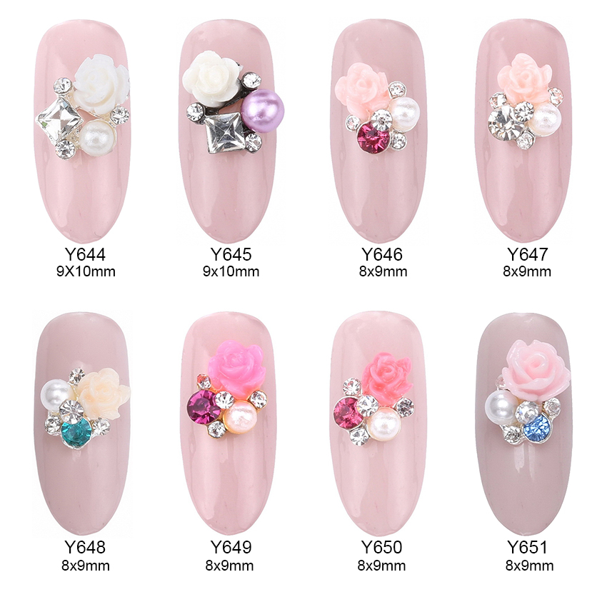 10pcs Flower square rhinestones pearl jewelry nail art design 3d nails decorations new arrive Y644~651 10pcs gold 3d rudder metal flower pearl music note mixed rhinestones cross nail art decoration jewelry nails supplies y180 187