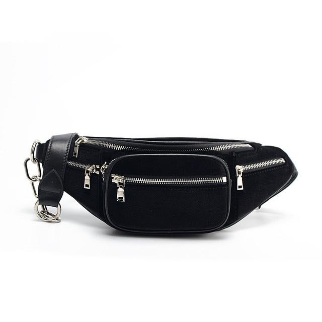 e825617747a High Quality Velvet Sheepskin Chain Waist Bag Bananka Travel Leisure Fanny  Pack Men And Women Walking