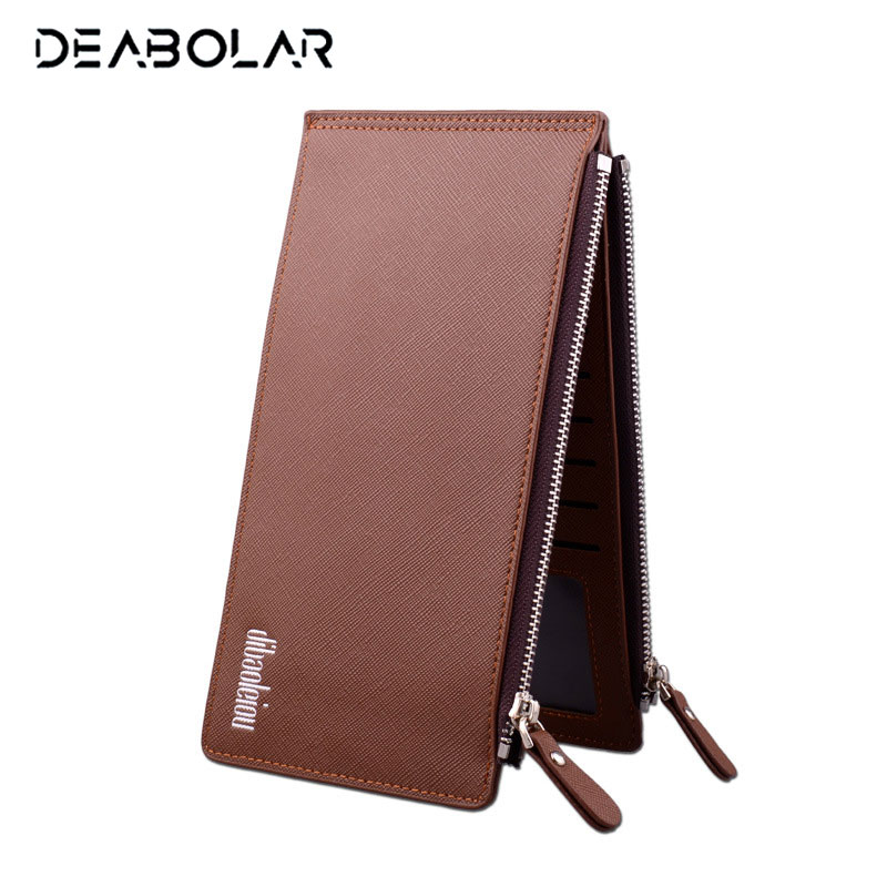 DEABOLAR Classical Long Slim Bank Card Sets Male Multi Bits Credit ID Card Holder Large Capacity Wallet Zipper Purse for Men