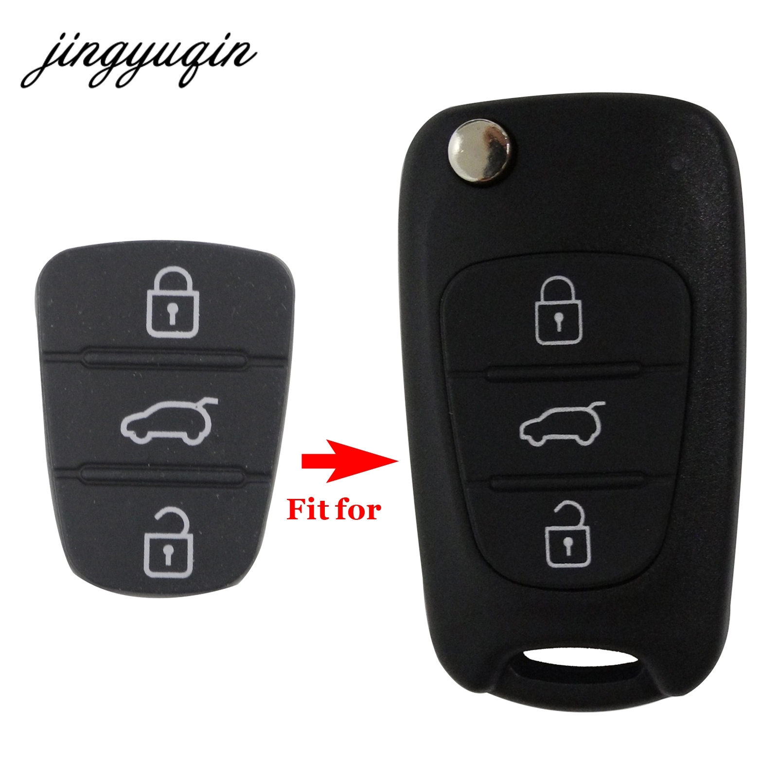 jingyuqin 3 Button Remote Key Fob Case Rubber Pad For Hyundai I10 I20 I30 IX35 for Kia K2 K5 Rio Sportage Flip Key maizhi 3 button flip folding car key shell for hyundai avante i30 ix35 kia k2 k5 sorento sportage key cover case styling