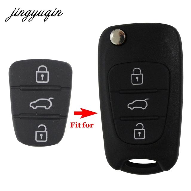 jingyuqin 3 Button Remote Key Fob Case Rubber Pad For Hyundai I10 I20 I30 IX35 for Kia K2 K5 Rio Sportage Flip Key