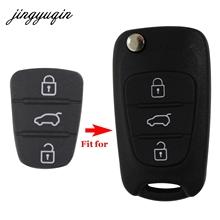 jingyuqin 3 przycisk zdalnego klucza FOB Case gumowe Pad dla Hyundai i10 i20 i30 IX35 dla Kia K2 K5 Rio Sportage Flip Key tanie tanio