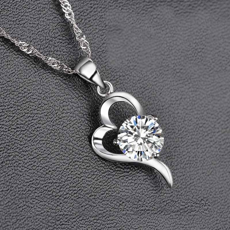 OMHXZJ Wholesale Personality Fashion OL Woman Gift Heart White Amethyst AAA Zircon 925 Sterling Silver Pendant Necklace NC80