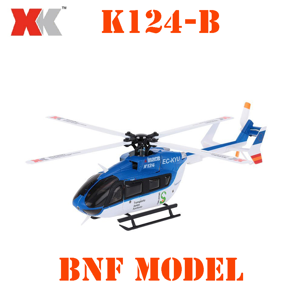 Original XK EC145 K124 2.4G 6CH 3D 6G System Brushless Motor BNF RC Helicopter Without Transmitter original xk k124 bnf without tranmitter ec145 6ch brushless motor 3d 6g system rc helicopter compatible with futaba s fhss