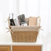 Imitation rattan desktop storage basket fabric box straw snacks weaving books magazine shopping