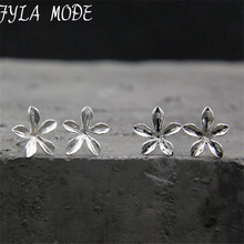 Fyla Mode 100% Authentic 925 Sterling Silver Flower Stud Earrings For Women Compatible with Jewelry Original Gift 9mm TYC174