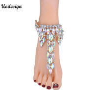 Fashion Ankle Bracelet Wedding Barefoot Sandals Beach Foot Jewelry Sexy Pie Leg Chain Female Boho Crystal Anklet