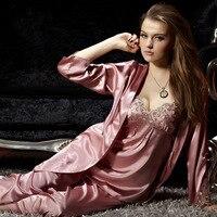 2017 Brand Pyjamas Women Satin Silk Pajamas Red Three Piece Pyjama Sets Lace Embroidery Imitation Silk