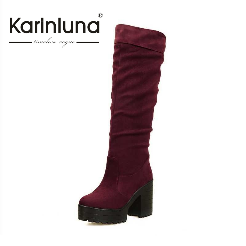 KARINLUNA 2017 Women Flock slip-on Round Toe Platform Knee Boots Winter Square High Heel Concise Fashion Woman Shoes Women nayiduyun women genuine leather wedge high heel pumps platform creepers round toe slip on casual shoes boots wedge sneakers