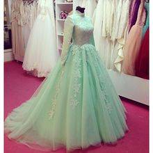 Real Pictures Aqua Green Long Sleeve Muslim Islamic Arabic Evening Dress Sweep Train Beaded Lace Appliques