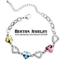 Marka Charm Bilezik Kalp Swarovski gelen Kadınlar Için Kristaller Cristal Pulseras Bijoux Güzel Takı Dropshipping Seviyorum