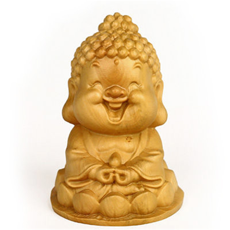 Smiling Buddha Boxwood Q Version Small Boutique Furnishing Articles Giving Gifts Creative Desk Furnishing articles Free Ship