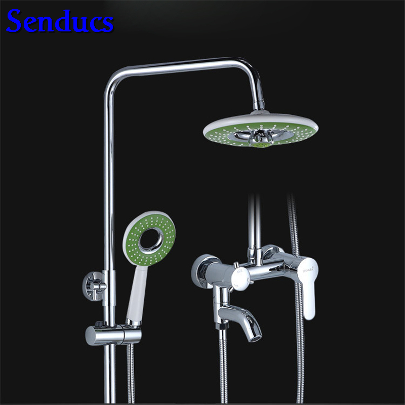 Senducs Polished Chrome Shower Set Round Shower System of Quality Brass Shower Body Faucet Hot Sale Chrome Shower SetSenducs Polished Chrome Shower Set Round Shower System of Quality Brass Shower Body Faucet Hot Sale Chrome Shower Set