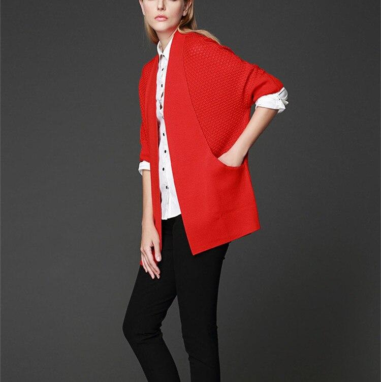 Black De Manteau 100 Demi Laine Chandail Grain droite red Ananas Mérinos Tricot Patchwork Mode H Grey Cardigan Femmes neutral Manches 6I8Iarnq