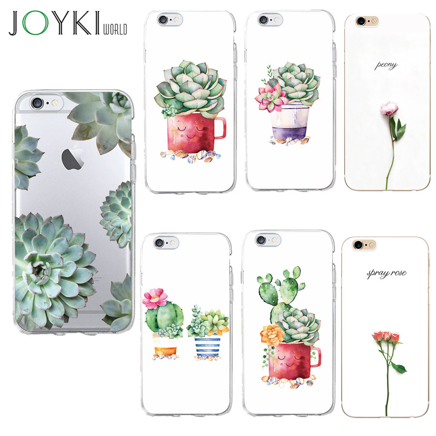 Cactus Plant Print Case For Iphone 5 5s Se 6 6s 7 Cover 4.7 Inch Soft Silicon Tpu Clear Slim Coque Case For Iphone 7 8 Case Discounts Sale