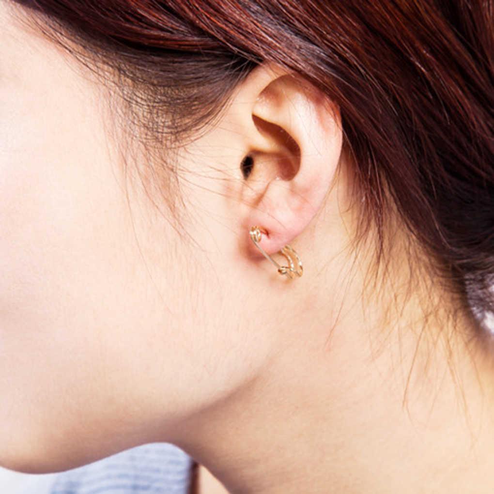 1 คู่ Unisex Punk ROCK สไตล์ PIN EAR Hook STUD ต่างหู