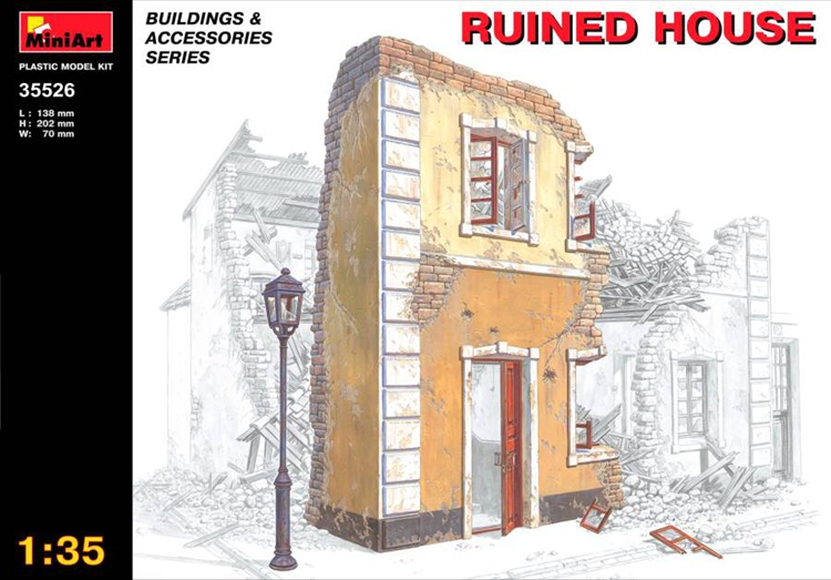 MiniArt 35526 Ruined house 1/35 realts out of print product village house w base diorama building 1 35 miniart 36031
