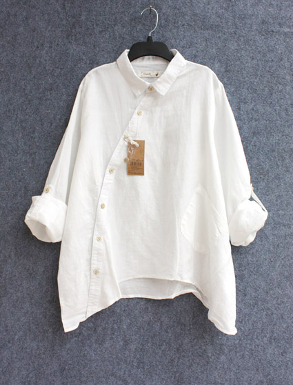 41e80d5c8cd Plus Size Women Vintage Cotton linen Clothes White Linen Big Shirts Women  Casual Loose Long Sleeve Irregular Collar Blouse Tops