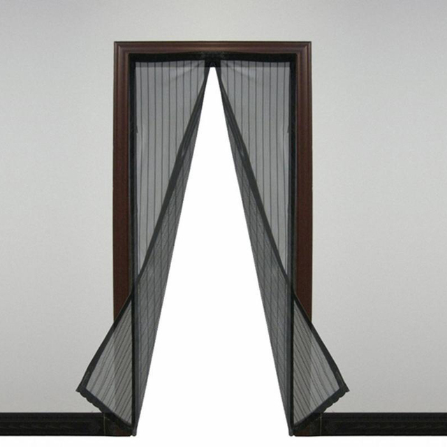 Practical Magic Mesh Hands Free Screen Door Single Sliding Net Doors Anti Mosquito Bug Black