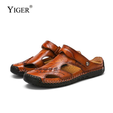 YIGER New Men Sandals Slippers Man casual Hole shoes genuine leather large size male Beach sandals summer leisure slippers  275