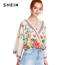 SHEIN Surplice Neckline Florals Top 2018 Summer V Neck Long Sleeve Print Blouse Women Patchwork Floral Beach Blouse