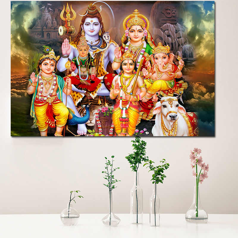 Hd Print Home Decor Canvas Paintings 1Pcs Shiva Parvati Ganesha Wall Art Picture For Living Room HD Printed India God Posters