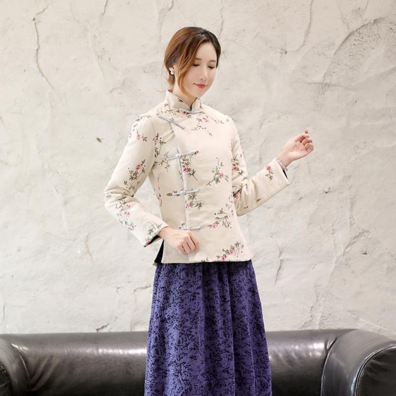Femme À Traditionnel Femmes Manches Mandarin Élégant B Tang Vêtements style Outwear Vintage Coton Col Veste Chaud A Imprimé Longues Style Fleur aqOAfwxAg