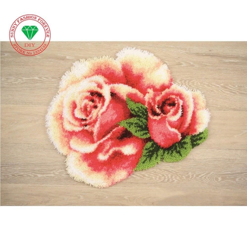 Лидер продаж, набор ковриков с крючками защелками для рукоделия, незавершенный ковер для вязания крючком, коврик для подушки из пряжи, Цветочная Роза, 3D ковер с вышивкой, бесплатная доставка