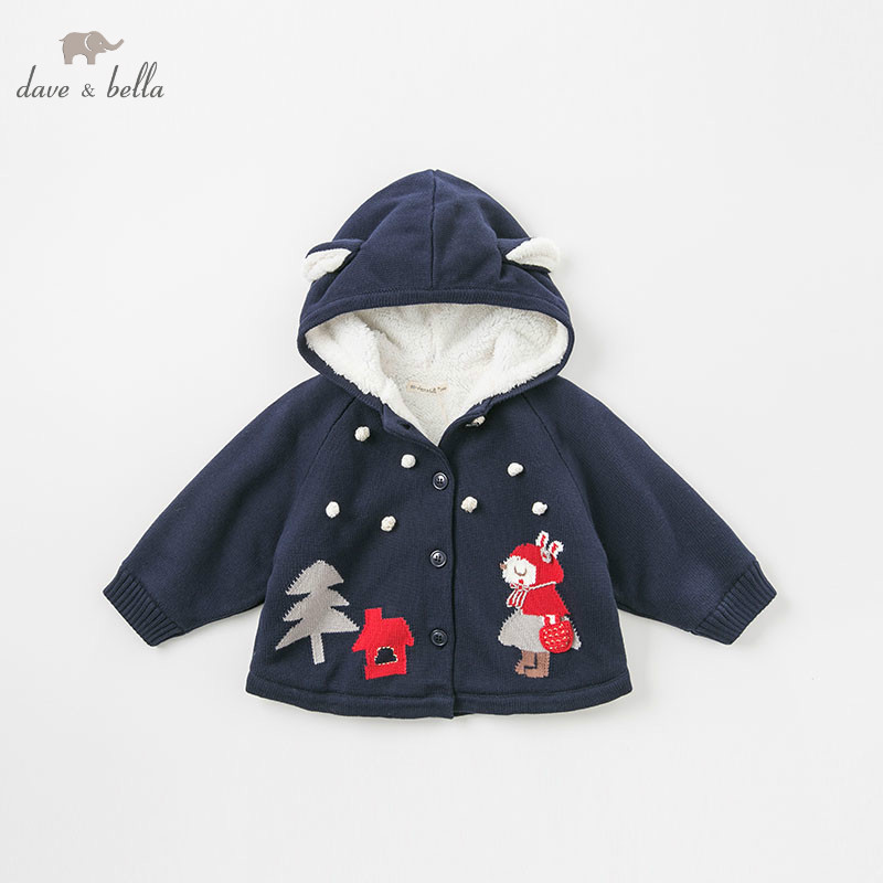 цена DBM8653-1 dave bella autumn winter baby girl lovely jacket children fashion outerwear kids navy coat