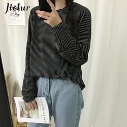 Jielur Korean Fashion Comfortable Stripe T Shirt Female Brief Slim Hipster Long Sleeve Tshirt Women Black White Autumn Top Femme 2