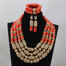 African Wedding Coral Jewelry Set Gold Accessories Add Coral Beads Bridal Necklace Jewelry Sets 4