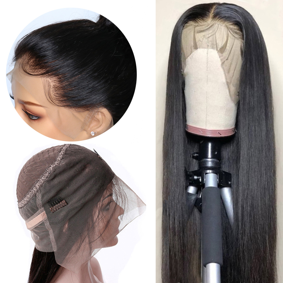Superfect 360 Lace Frontal Wig Pre Plucked With Baby Hair Peruvian Straight Remy Natural Hairline Lace Frontal Human Hair Wigs
