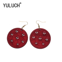 YULUCH Novelty Round Wood Skull Pendant Openwork Earrings fo