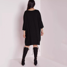 Kissmilk 2018 Big Size New Fashion Women Clothing Casual Brief Solid O-Neck Loose Summer Dress Plus Size Dress 4XL 5XL 6XL