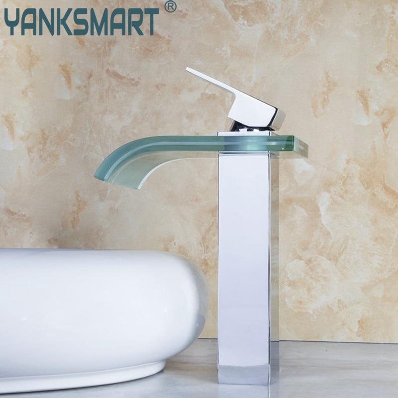Здесь продается  YANKSMART Waterfall Luxury LED Chrome Water Power Deck Mounted Mixer Brass Basin Sink Vessel Bathroom Faucet Tap MF-311  Строительство и Недвижимость