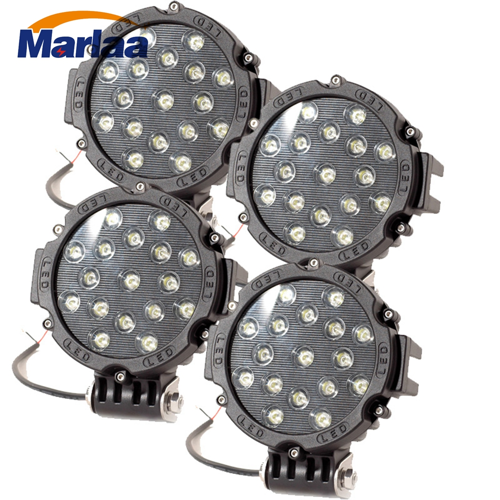 4 piece 7 inch 51W Car Round LED Work Light 12V 24V Flood Spot Light For