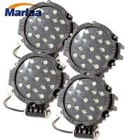 Marlaa 4 Piece 7 Inch 51W Car Round LED Work Light 12V 24V Flood Spot Light