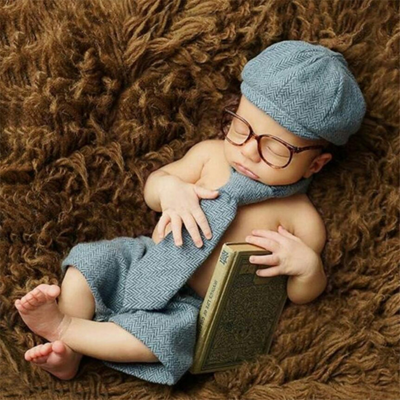 10.35US $ 10% OFF Baby Boy Photo Costumes Clothes Newborn Bebe Pictures Clothing Hat+Pants+Tie+ Glas...