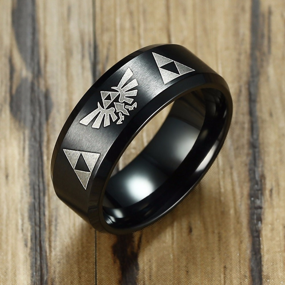 Legenden om Zelda Triforce Ring för män Rostfritt stål Beveled Wedding Band Male Fanatic Geek Sci Fi Smycken i Svart Guld Silver